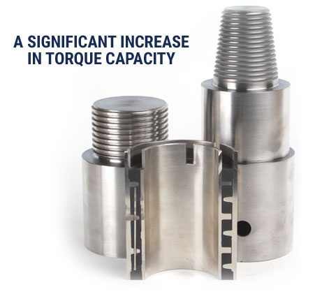 RIDE Inc's couplings and isolators provide a significant increase in torgue capacity for downhole drilling